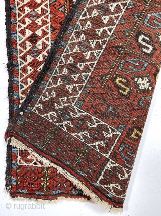 "Antique Baluch rug with an unusual version of the double prayer design. Both niches created by offsetting the ivory border rather than the typical continuous design. The ""tile"" design field is uncommon  ..."