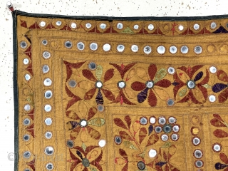 Old textile from a local home. Probably Indian but not my area of knowledge. Soft supple handle. Fair condition with  some light abrasions and a few mirrors missing as shown. Backing  ...