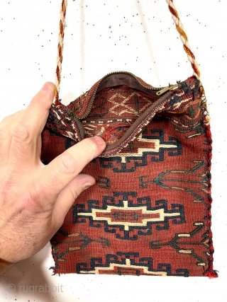 Little bag, possibly original or possibly made from an old turkman textile. Textile looks to have all good natural colors, later edge binding not so. Zipper unlikely antique. As found, could use  ...