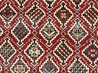 Antique example of an eastern Caucasian type with overall lattice design. Generally referred to as kuba rugs, with depressed weave, this one has light colored selvages usually associated with shirvan rugs not  ...