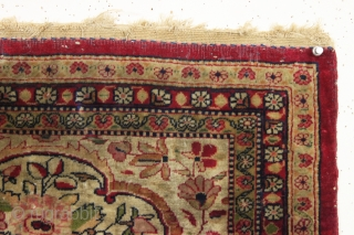 antique little pictorial kerman mat with bird and floral decoration. As found, very very dirty but overall good pile and tight weave. Appears to have a few small moth nibbles along the  ...