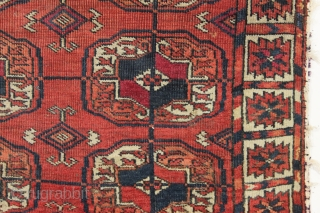 antique very small tekke rug with an interesting border. As found, dirty with some wear and a few small old crude repairs as shown. All natural colors. Another example just picked from  ...