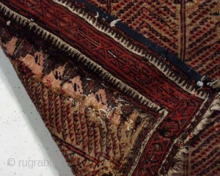 Old large baluch flat woven bagface or small sofreh. In somewhat rough or puzzling condition. Good sized areas appear to be rewoven but maybe not? Nice fine weave. All natural colors. Original  ...