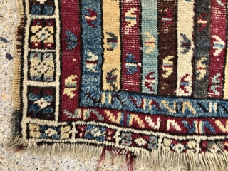 """Antique Anatolian yastik. Interesting """"cane"""" design with an unusual border. As found, some decent pile and some areas of wear. Original selvages. Appears to have good natural colors including cochineal red and  ..."""
