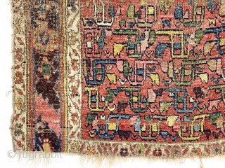 Early northwest Persian rug, possibly Kurd bidjar, very rough, with a most unusual field design. I don't think I have ever seen this repeat pattern as such. The archaic main border seems  ...