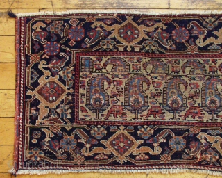 """Antique very large Afshar bagface or trapping. Interesting design, beautiful border. Allover even very low pile. All natural colors. One crudely sewn up hole. 19th c piece. 1' 8"""" x  4'  ..."""