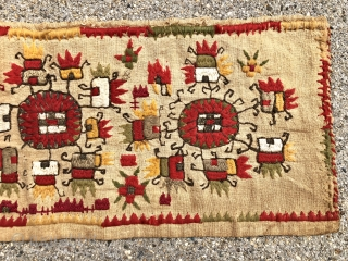 Charming little textile. Uzbek? Looks like mostly cotton or linen with silk highlights ( white and light beige ). Spending time cleaning my closed shop. Found this piece hiding under the piles.  ...