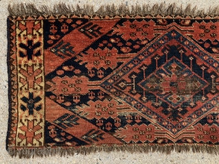 Early turkman weaving. What remains of an ersari or beshir torba or trapping? Lovely field drawing paired with a beautiful, unusual yellow main border. If you look carefully you will note the  ...
