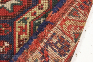 rare antique makri yastik. As found, very very dirty with wear and heavy brown oxidation. All good natural colors. Edges and ends rough with newer crude selvage wrapping. You can see some  ...