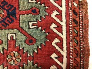 Antique Anatolian yastik in overall very good condition. A lovely example of this well known type with all natural colors featuring lots of rich greens. Overall good even pile and nice tight  ...