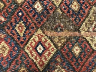 """Antique extra large jaf Kurd diamond bagface. Extra rough condition but with a design feature or two worth studying. The bold and large scale colorful """"signal flag"""" border is somewhat uncommon. Note  ..."""