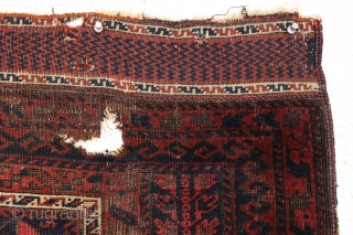 antique baluch prayer rug, probably timuri. Older example with unusual blue ground and extemely fine and beautiful kelim ends. Very abused with heavy wear and holes as shown. Priced accordingly. All natural  ...