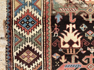 Antique Persian tribal rug, possibly shahsavan, with an interesting field paired with an outstanding dramatic border. Mostly good pile, (rug weighs about 15 lbs.) some wear as shown. As found, dirty with  ...