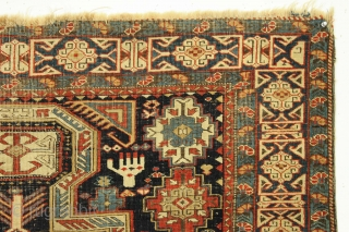 Antique caucasian kuba prayer rug. Rare type. Kufic border. Inscribed and dated? All good natural colors. No chemical dyes. Rough condition with very low pile and slight damage as shown. Recent wash.  ...