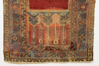 Antique Turkish Ladik prayer rug. Reweaves, faded patches, latex. You name it. A sampler of bad repair. Possibly 50% original. Most of the center is original and is at least early 19th  ...