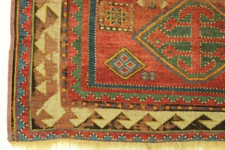 Antique Kazak prayer rug. Superb all natural colors featuring as nice a green as you might find. Spacious drawing. In abused poor condition as shown complete with sizable hole. Reasonably clean. 19th  ...