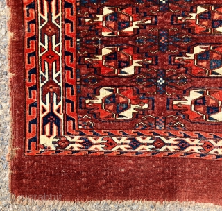 Antique small yomud chuval with rich deep natural colors, fine weave, and elegant minor guls. Overall very low pile with a thin blanket like handle. Remnant original selvages. Reasonably clean. Good age,  ...