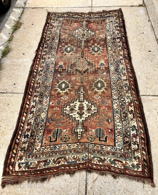 Antique Persian tribal rug with attractive drawing featuring good sized people in fancy dress and charming fan tailed peacocks. Possibly Luri? Overall even low pile with some scattered wear as shown. Interesting  ...