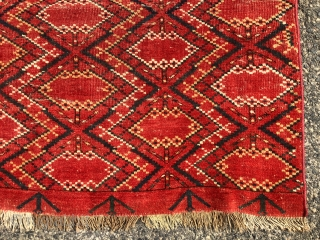 Antique very large Ikat inspired turkman chuval with some unusual structural features. Appears to have ivory cotton wefting and partial mixed cotton/wool warps. Pile varies from good low pile to very low  ...