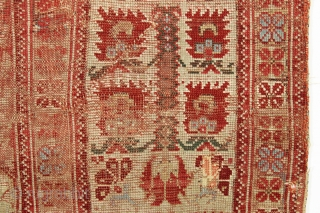 "Early anatolian prayer rug. Very rough condition but not a very large cost. Old faded repairs. ca. 1820 4'2"" x 5'6"""