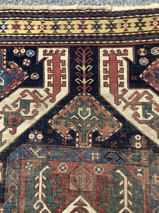 Early karrabagh rug. Nicely drawn example of this well known group. Bold and spacious. Interesting uncommon yellow main border. Overall very low pile, intact rug, but with substantial wear as shown. Highest  ...