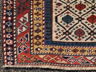 Antique Caucasian ivory ground prayer rug. An above average example of a relatively common type. Overall good neat original pile and an unusually large range of excellent natural colors including a fine  ...