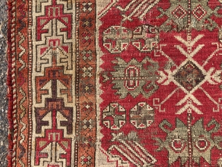 Antique west Anatolian rug. Interesting little rug recently found locally. Bergama? Overall low pile with scattered spots of wear, damage, and a small tear or two. Remnant selvages and end finish. I  ...