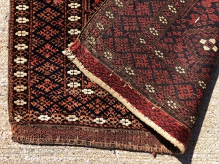 Antique little Baluch bagface in excellent condition with good color and very fine weave. Overall good even tight pile and great floppy handle. Some brown oxidation. Original selvages and end finish. Reasonably  ...