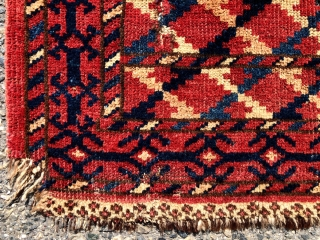 Antique little turkman pile weaving. Beautiful natural colors including a soft yellow/orange and nice silky wool. Probably yomud? When I look closely I seem to see both Turkish and Persian knotting? Possibly  ...