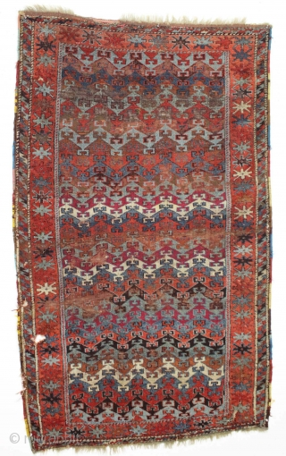 """antique east anatolian rug. Interesting design. Not great condition. Priced accordingly. 19th c. 3'11"""" x 6'7"""""""