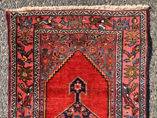 Lovely little Bidjar rug with excellent color and tight high pile. Usual thick bidjar construction. Overall very good condition with original selvages and secured ends. High quality little rug. Reasonably clean. Early  ...
