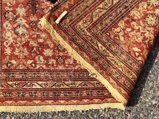Early Senneh saddle cover in pretty good condition for the age. Nice tight weave. Oxidized browns. All good natural colors. Low pile with some scattered wear as shown. Top fringe not original.  ...