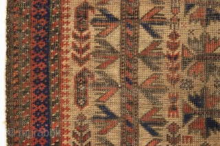"Antique baluch prayer rug. Terrific design. Great small size. Very thin with overall wear and heavy corrosion as shown. All good colors. No repairs. 19th c.2' 10"" x 3' 5"""