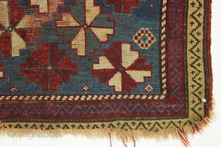 "Antique small kazak prayer rug. Wild design. Dated and damaged. All good natural colors. Great restoration project. 2'11"" x 5'1"""