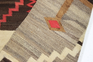 antique navajo rug. Most attractive and boldest storm pattern rug I have encountered. As found, reasonably clean with numerous little pulls and little spots of slight roughness a shown. Soft and supple  ...