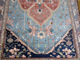 Serapi, blue field, medium sized ( 190x128 cm ). Over 100 yrs old ( survived the 2nd WW in a Berlin household) this rug shows signs of wear: selvages partly folded, many  ...