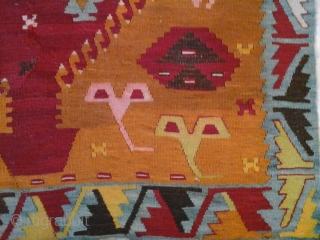 Fraghment of an Anatolian kilim, woven hundred years ago in Sivas, but I don't know which 'segment' of its population, could be kurdish or armenian, created this unusual piece of art. Very  ...