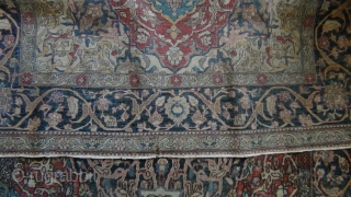Isfahan ( Isphahan) 125x200 cm. Even low pile allover. No grey-zones or damage, sides secured. A rare and very old specimen ( probably early 19th. c. ). Although typical Isfahan the intricate  ...