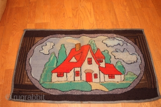 American Hooked Rug size 2'x3'-2''