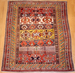 """Caucasian Shirvan last qart19th century Size:3'-4'' x 4'-7'' """""""