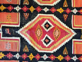 North African kilim Trabelsi recalling the origin of its weavers.Libyans from Tripolitania immmigrated to the mining towns around Redeyef, in south-west Tunisia shortly after the Italian occupation in 1912.  