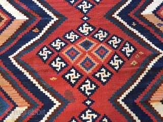 A striking Qashqai Kashkouli bridal kilim original ends ( small stain).