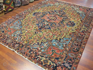 Antique Heriz Rug-4016-Antique Persian Heriz, from northwest Persia, size 7 ft. 4 inches by 9 ft. 10 inches, circa 1920. Large diamond medallion surrounded by palmette and flowering vines in green,light blue,  ...
