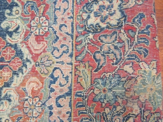 Mint large size antique Persian Sarouk Rug-2290. Central Persia, size 10 ft. 10 inches by 15 ft. 8 inches, circa 1920. large floral design in blue,rose,green,tan and red on deep red field,floral  ...
