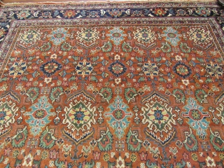 Large Size Persian All-Over Mahal Rug-3688. Central Persia,size 10 ft. 7 inches by 17 ft. 8 inches, circa 1920, large palmette in yellow,green,blue,ivory,coral and sand on rust field, large Turtle design with  ...
