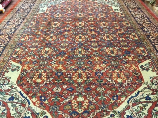 Antique Persian Ziegler Mahal Rug-816- Central Persia, size 10 ft. 3 inches by 14 ft, allover lattice floral design with delicated  blossoming vines in green,blue,pink and ivory on rust field, large  ...