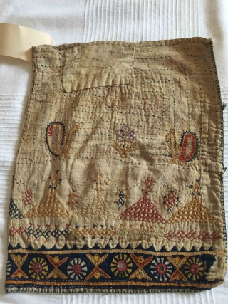 Superb rustic embroidery on soft handspun handwoven handstitched cotton cloth bag Beautifully yellowed with age Gujarat - probably Saurashtra Late 1800s - early 1900s  See more here https://wovensouls.com/collections/recent-additions-1   NOW MOVED TO ANOTHER LOVING HOME