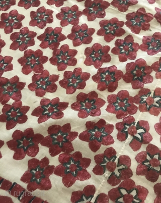 1365 Superb Antique Sindh Abochani Wedding Shawl - Six Petalled Flowers. Superfine basecloth. Has holes with repair patches at the back. Priced accordingly. https://wovensouls.com/products/1365-superb-antique-sindh-odhana-abochani-wedding-shawl-six-petalled-flowers