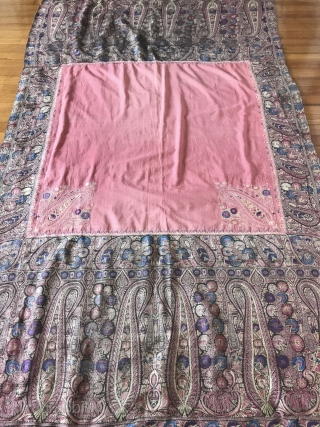 Exquisite Botehs in this antique Kashmir Shawl (with Silk) fragment! More details of Asset 1165 here: https://wovensouls.com/products/1165-antique-kashmir-shawl-pink-field-with-silk-rare  Please have a look.