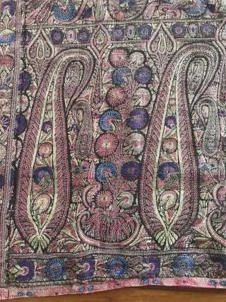 Exquisite Botehs in this antique Kashmir Shawl (with Silk) fragment! More details of Asset 1165 here: https://wovensouls.com/collections/weekly-sale 